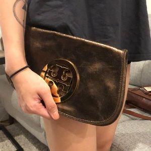 Tory Burch Bags - Tory Burch metallic brown clutch